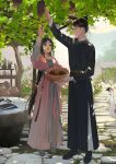 1boy bangs basket bird book changpao chinese_clothes couple dress duck flower food from_side fruit full_body grapes hanfu highres jade_pendant jar light_rays loli_bushi long_hair long_sleeves looking_up open_mouth original outdoors pink_dress profile smile standing sunbeam sunlight tassel