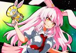 1girl :d animal_ears bangs black_outline breasts collared_shirt eyebrows_visible_through_hair gradient gradient_background green_background gun holding holding_gun holding_weapon long_hair looking_at_viewer lunatic_gun medium_breasts necktie open_mouth outline pink_hair pink_skirt puffy_short_sleeves puffy_sleeves qqqrinkappp rabbit_ears red_neckwear reisen_udongein_inaba shirt short_sleeves skirt smile solo touhou traditional_media upper_body weapon white_shirt yellow_eyes