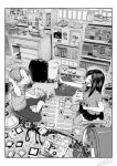 1boy 1girl absurdres alarm_clock animal backpack bag blush book bookshelf card cat chair child clock closed_eyes commentary_request desk game_boy greyscale hand_on_own_head handheld_game_console hat highres holding holding_card hood hoodie indoors instrument jorori keyboard_(instrument) manga_(object) melodica monochrome on_ground open_mouth original pants playing_games randoseru school_bag shirt sitting skirt smile thigh-highs tissue_box toy toy_tank wariza window wire