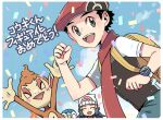 1boy 1girl :d backpack bag beanie black_hair blush chimchar clenched_hand closed_eyes commentary_request confetti dawn_(pokemon) eyelashes grey_eyes hair_ornament hairclip hand_up hat long_hair lucas_(pokemon) open_mouth pants piplup pokemon pokemon_(creature) pokemon_(game) pokemon_dppt red_headwear red_scarf scarf short_hair short_sleeves smile spiky_hair teeth tongue translation_request upper_teeth white_headwear xichii yellow_bag