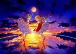 2girls :/ ascot back_cutout bangs bat_wings blush clothing_cutout clouds cloudy_sky collared_shirt commentary_request crystal dress eyebrows_visible_through_hair flandre_scarlet full_moon hat high_heels looking_at_viewer looking_back mob_cap moon multicolored multicolored_wings multiple_girls night night_sky petticoat pink_dress puffy_short_sleeves puffy_sleeves red_eyes red_footwear red_neckwear red_ribbon red_skirt red_vest reflection remilia_scarlet ribbon ripples sakizaki_saki-p shirt short_hair short_sleeves siblings side_ponytail sisters skirt sky standing standing_on_liquid star_(sky) starry_sky touhou vest water wing_collar wings wrist_cuffs