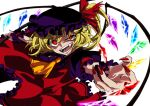 1girl adapted_costume ascot bangs crazy_eyes crystal english_text eyebrows_visible_through_hair fangs fingernails flandre_scarlet frilled_shirt_collar frilled_sleeves frills halloween hat hat_ribbon karasaki laevatein_(touhou) lower_teeth mob_cap multicolored multicolored_wings nail_polish open_mouth puffy_short_sleeves puffy_sleeves red_eyes red_nails red_ribbon ribbon sharp_fingernails sharp_teeth short_hair_with_long_locks short_sleeves side_ponytail simple_background slit_pupils solo teeth touhou uneven_eyes upper_body white_background wings wrist_cuffs yellow_eyes yellow_neckwear