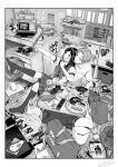 1boy 1girl absurdres animal bag ball bangs blush book bookshelf candy cat cellphone commentary_request computer controller couple desk electric_fan food food_in_mouth game_console game_controller greyscale handheld_game_console highres holding holding_controller holding_game_controller homework jorori laptop looking_at_phone manga_(object) medium_hair monochrome original phone plaid plaid_skirt racket remote_control school_bag school_uniform serafuku shirt short_hair sitting sitting_on_lap sitting_on_person skirt sweets taking_picture tennis_ball tennis_racket thigh-highs toy_tank