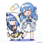 2girls absurdres axe bangs blue_eyes blue_hair blush chibi closed_eyes commentary dual_persona facing_viewer golden_axe_(weapon) highres holding holding_axe hololive hood hood_up hoodie hoshimachi_suisei long_hair long_sleeves looking_at_viewer multiple_girls nekotaririn open_mouth shooting_star smile squatting star_(symbol) twitter_username v-shaped_eyebrows white_legwear