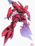 beam_saber char's_counterattack esuthio glowing glowing_eye green_eyes gundam highres holding holding_sword holding_weapon looking_down mecha mobile_suit no_humans one-eyed sazabi science_fiction solo sword weapon
