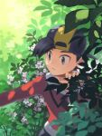 1boy backwards_hat baseball_cap black_hair black_headwear commentary_request day ethan_(pokemon) flower foliage frown grey_eyes hand_up hat highres jacket leaf looking_to_the_side male_focus outdoors outstretched_arm pants parted_lips pokemon pokemon_(game) pokemon_hgss red_jacket short_hair white_flower xichii zipper_pull_tab