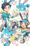 1boy 1girl :d alternate_costume animal_ears azumarill belt black_hair blue_headwear brown_eyes commentary_request egg ethan_(pokemon) eyelashes grin highres holding holding_egg kneehighs long_hair lyra_(pokemon) one_eye_closed open_mouth pokemon pokemon_(creature) pokemon_(game) pokemon_egg pokemon_hgss sailor_collar shoes short_hair shorts smile sneakers striped striped_legwear suspenders teeth tongue twintails upper_teeth vertical-striped_legwear vertical_stripes visor_cap xichii