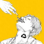 1boy adam's_apple arrow_(symbol) cigarette commentary_request earrings highres jewelry kamomiland limited_palette looking_up male_focus mole mole_under_eye original portrait recycling_symbol short_hair solo_focus spot_color yellow_background yellow_eyes yellow_theme