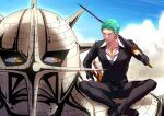 2boys black_pants black_suit crossed_legs eilinna giant giant_male green_hair katana male_focus multiple_boys official_alternate_costume one_piece over_shoulder pants partially_unbuttoned pectoral_cleavage pectorals pica_(one_piece) roronoa_zoro scar scar_across_eye short_hair sideburns smirk sword sword_over_shoulder toned toned_male weapon weapon_over_shoulder