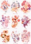 :< anemone_(flower) blue_eyes blue_flower brown_eyes closed_eyes closed_mouth eevee espeon flareon flower glaceon highres jolteon leafeon looking_at_viewer looking_back lotus no_humans oharu-chan open_mouth orange_flower painting_(medium) pokemon pokemon_(creature) purple_flower red_flower rose smile snowdrop_(flower) sunflower sweet_pea sylveon toes traditional_media tulip umbreon vaporeon watercolor_(medium) white_background