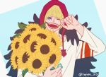 1boy alternate_costume blonde_hair bouquet casual commentary_request donquixote_rocinante flat_color flower holding holding_bouquet hood makeup male_focus one_piece short_hair smile solo sunflower toyoura_(23066494) upper_body