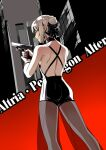 1girl artoria_pendragon_(alter_swimsuit_rider)_(fate) artoria_pendragon_(fate) bow bracelet building character_name city earrings eilinna fate/grand_order fate_(series) from_behind gun hair_bow hair_bun handgun highres holding holding_gun holding_weapon jewelry looking_back pistol platinum_blonde_hair see-through_pants shoulder_blades skyscraper solo trigger_discipline weapon yellow_eyes