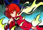 1girl :d bangs blue_bow bow cape cloak eyebrows_visible_through_hair hair_between_eyes hair_bow long_sleeves looking_at_viewer open_mouth orange_eyes qqqrinkappp red_cape redhead sekibanki short_hair smile solo touhou traditional_media upper_body