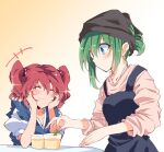 +++ 2girls alternate_costume apron asymmetrical_hair bangs black_scarf blue_apron blue_eyes blue_kimono blush breasts coin_on_string commentary_request cup dessert elbows_on_table eyebrows_visible_through_hair food green_hair hair_bobbles hair_ornament hands_on_own_face head_scarf highres ichimura_kanata japanese_clothes kimono large_breasts long_sleeves multiple_girls obi onozuka_komachi pink_shirt ponytail puffy_short_sleeves puffy_sleeves redhead sash scarf shiki_eiki shirt short_hair short_sleeves sidelocks smile sparkle table touhou two_side_up