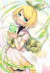 1girl :3 aqua_eyes ataraii_moyasi black_shirt blonde_hair bow bug butterfly capelet closed_mouth commentary cowboy_shot dress glowing_butterfly green_bow green_capelet hair_bow hands_up head_tilt holding kagamine_rin lace-trimmed_capelet lace_trim looking_at_viewer magical_mirai_(vocaloid) nail_polish orb shirt short_hair smile solo standing vocaloid white_dress yellow_nails