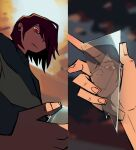 1other animated broken_glass brown_hair deltarune english_commentary frown glass glass_shard holding kris_(deltarune) red_eyes reflection solo time_stables
