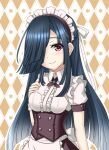 1girl apron black_hair blush closed_mouth commentary_request corset eyebrows_visible_through_hair hair_over_one_eye hand_on_own_chest hayashimo_(kancolle) kantai_collection karuna_(madlax) long_hair looking_at_viewer maid maid_headdress smile solo upper_body violet_eyes waist_apron white_apron white_headdress