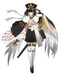 1girl absurdres animal_hands arm_up bird_wings black_cape black_footwear black_hair black_hakama black_headwear black_skirt bob_cut breasts briefcase cape character_request check_character check_copyright chinese_commentary claws closed_mouth commentary_request copyright_request eyebrows_behind_hair feathered_wings floral_print fur-trimmed_cape fur_trim garters hakama hakama_skirt hat highres itsumade_(onmyoji) japanese_clothes jpeg_artifacts katana kneehighs long_sleeves medium_breasts nine_(liuyuhao1992) onmyoji orange_eyes peaked_cap rose_print sanpaku scarf sheath sheathed simple_background sketch skirt solo standing straight-on striped sword tachi-e v-shaped_eyebrows v-shaped_eyes weapon white_background white_legwear white_scarf white_wings wide_sleeves winged_arms wings