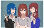 3girls aozaki_aoko bangs black_jacket blue_eyes blue_hair blue_jacket blush brown_eyes brown_hair ciel_(tsukihime) closed_eyes collarbone collared_shirt commentary_request crossed_arms eyebrows_visible_through_hair hair_between_eyes hair_intakes hair_ornament hair_scrunchie heart highres holding holding_pointer jacket long_hair long_sleeves looking_at_another looking_at_viewer multiple_girls noel_(tsukihime) one_eye_closed open_clothes open_jacket open_mouth parted_lips pikaremon pointer ponytail scrunchie shirt short_hair short_sleeves side_ponytail sidelocks smile sweatdrop t-shirt teacher teeth tongue trait_connection tsukihime tsukihime_(remake) upper_body upper_teeth very_long_hair white_shirt