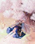 1girl armor bare_legs barefoot blue_skirt blush cherry_blossoms closed_fan commentary_request folding_fan genshin_impact hair_down hair_ribbon hand_fan highres japanese_armor japanese_clothes ji_yue kamisato_ayaka long_hair mole mole_under_eye parted_lips rabbit red_ribbon ribbon skirt sleeping solo tree tress_ribbon vambraces