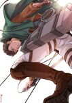1boy bertolt_hoover black_hair boots capelet cropped_jacket dark-skinned_male dark_skin foreshortening from_behind from_below green_capelet jacket leather leather_boots leather_jacket looking_at_viewer male_focus maru_mary pants paradis_military_uniform shingeki_no_kyojin short_hair solo three-dimensional_maneuver_gear white_pants