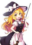 :d absurdres apron black_dress blonde_hair bow braid broom buttons cowboy_shot dress eyebrows_visible_through_hair frilled_dress frills hair_bow hat hat_bow highres holding holding_broom kirisame_marisa long_hair looking_at_viewer offbeat pinafore_dress puffy_short_sleeves puffy_sleeves short_sleeves simple_background smile touhou waist_apron white_background white_bow witch_hat yellow_eyes