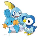 blue_eyes bright_pupils brown_eyes closed_mouth commentary_request highres mudkip no_humans open_mouth piplup pokemon pokemon_(creature) rorosuke smile sobble tongue twitter_username white_background white_pupils