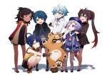 2boys 4girls ^_^ blue_eyes blue_hair brown_hair child chinese_clothes chongyun_(genshin_impact) closed_eyes closed_mouth coin_hair_ornament dark-skinned_female dark_skin dress eyebrows_visible_through_hair flower flower-shaped_pupils food full_body genshin_impact gloves guoba_(genshin_impact) hair_rings hat highres hu_tao_(genshin_impact) ice_cream koohiirin long_hair long_sleeves looking_at_another multiple_boys multiple_girls ofuda open_mouth panda plum_blossoms purple_hair purple_headwear qing_guanmao qiqi_(genshin_impact) red_eyes red_panda shoes short_hair short_shorts shorts simple_background smile squatting symbol-shaped_pupils talisman thigh-highs twintails violet_eyes vision_(genshin_impact) white_background xiangling_(genshin_impact) xingqiu_(genshin_impact) xinyan_(genshin_impact) yellow_eyes