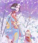 1girl 1other bare_tree day english_commentary folding_fan hand_fan hat highres japanese_clothes kimono looking_at_viewer monohimawari original outdoors red_headwear red_scarf scarf short_hair standing tree wide_sleeves