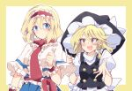 2girls :d :| alice_margatroid apron bangs black_vest blonde_hair blue_dress blue_eyes blush border bow braid breasts brown_eyes buttons capelet closed_mouth commentary_request dress eyebrows_visible_through_hair frilled_apron frilled_hairband frills hair_ribbon hairband highres ichimura_kanata index_finger_raised kirisame_marisa large_breasts lolita_hairband long_hair looking_at_viewer multiple_girls open_mouth puffy_short_sleeves puffy_sleeves red_hairband ribbon shirt short_hair short_sleeves single_braid skirt smile sweatdrop touhou tress_ribbon upper_body vest white_apron white_background white_bow white_capelet white_ribbon white_shirt wrist_cuffs