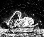 2boys asapbn boat donquixote_rocinante fur_hat greyscale hat headwear monochrome multiple_boys night night_sky oar one_piece outdoors parted_lips pointing shooting_star sky smile star_(sky) trafalgar_law watercraft