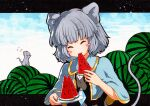 1girl animal_ears bangs black_shirt blue_capelet blush_stickers buttons capelet closed_eyes crystal eating eyebrows_visible_through_hair food fruit grey_hair holding holding_plate jewelry layered_clothing mouse mouse_ears mouse_girl mouse_tail nazrin pendant plate qqqrinkappp shirt tail touhou traditional_media upper_body watermelon