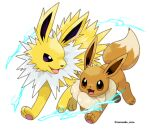 :d brown_eyes commentary_request eevee electricity highres jolteon no_humans open_mouth pokemon pokemon_(creature) rorosuke smile toes tongue twitter_username violet_eyes white_background
