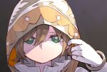 1girl bangle bangs bracelet bright_pupils closed_mouth commentary_request daiba_nana expressionless eyebrows_visible_through_hair frilled_shirt_collar frills gloves goe_(g-o-e) gradient gradient_background green_eyes grey_background hair_between_eyes highres hood hood_up jewelry light_brown_hair looking_at_viewer official_alternate_costume portrait short_hair shoujo_kageki_revue_starlight shoujo_kageki_revue_starlight_-re_live- solo white_gloves white_pupils