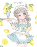 1girl apron aqua_bow aqua_dress aqua_neckwear bangs blue_bow blue_dress blue_eyes blue_neckwear blush bow bowtie bracelet braid character_name choker commentary_request cowboy_shot cup dot_nose dress dress_bow drink drinking_glass drinking_straw eyebrows_visible_through_hair food frilled_apron frilled_choker frilled_dress frills fruit fruit_background gloves grey_eyes grey_hair hair_bow hand_up holding holding_tray izayoi_sakuya jewelry lace-trimmed_apron lace-trimmed_dress lace_trim leaf leg_garter lemon lemon_slice long_hair looking_at_viewer maid_headdress one-hour_drawing_challenge one_eye_closed orange_bow parted_bangs pinstripe_dress pinstripe_pattern ribbon ribbon_choker sakurasaka short_dress short_sleeves single_glove solo striped sundress touhou tray twin_braids white_apron white_gloves
