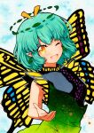 1girl ;d antennae aqua_hair butterfly_wings dress eternity_larva eyebrows_visible_through_hair green_dress hair_ornament kariyushi_shirt leaf leaf_hair_ornament leaf_on_head light_blue_background looking_at_viewer multicolored multicolored_clothes multicolored_dress one_eye_closed open_mouth outstretched_arm outstretched_hand qqqrinkappp short_sleeves single_strap smile touhou traditional_media upper_body wings yellow_eyes yellow_wings