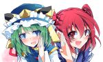 2girls :d asymmetrical_hair bangs blue_eyes blue_kimono blue_vest blush commentary_request eyebrows_visible_through_hair gold_trim green_hair hair_bobbles hair_ornament hat hat_ribbon ichimura_kanata japanese_clothes jewelry kimono long_sleeves looking_at_viewer multiple_girls onozuka_komachi open_mouth puffy_short_sleeves puffy_sleeves red_eyes redhead ribbon ring shiki_eiki shirt short_sleeves smile sweatdrop touhou two_side_up upper_body vest wedding_band white_shirt wife_and_wife