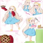 1950s_(style) 1girl absurdres blonde_hair cooking dress final_fantasy final_fantasy_xiv food headband highres lalafell long_hair pastel_colors petite pie pointy_ears polka_dot sign_language smile spooky-dollie very_long_hair vintage_clothes whisk