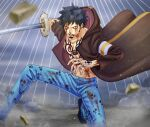 1boy absurdres bare_pectorals black_hair blood blood_from_mouth chest_tattoo coat commentary_request denim facial_hair fighting_stance foot_out_of_frame goatee highres holding holding_sword holding_weapon hood hood_down jaguar_print jeans long_sideburns looking_at_viewer male_focus one_piece open_clothes open_coat pants pectorals short_hair sideburns solo sword tattoo toned toned_male toyoura_(23066494) trafalgar_law weapon wind