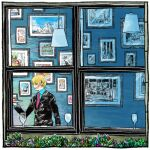 1boy blonde_hair cup drinking_glass food formal grin hair_over_eyes hanging_light itowo_(itowc) long_sleeves necktie one_piece photo_(object) picture_(object) picture_frame plate sanji serving short_hair smile solo suit through_window window wine_glass