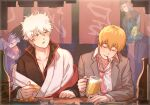 1girl 5boys aya_shiro423 beer_mug black_hair blue_scarf brown_scarf closed_eyes crossover cup drunk eating ekubo_(mob_psycho_100) food gintama glasses grey_suit japanese_clothes kageyama_shigeo kagura_(gintama) kimono mob_psycho_100 mug multiple_boys necktie night orange_hair outdoors pink_neckwear reigen_arataka sakata_gintoki scarf shimura_shinpachi umbrella white_hair