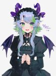 ! 1girl bsapricot_(vtuber) commission cross cross_earrings demon_girl demon_horns demon_wings earrings english_commentary gothic_lolita green_eyes green_hair highres horns jewelry lich lolita_fashion looking_at_viewer nima_(nimamann) open_mouth pointy_ears second-party_source simple_background skeb_commission solo tongue vshojo white_background wings