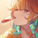1girl alcohol betabeet blue_hair champagne champagne_flute close-up cup dress drinking_glass earrings eyebrows_visible_through_hair face hololive hololive_english jewelry long_hair multicolored_hair orange_hair sideways_glance solo takanashi_kiara two-tone_hair violet_eyes virtual_youtuber