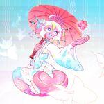 1girl blue_eyes flower happy holding kimono mermaid no_straight_roads parasol robot robot_girl sayu_(no_straight_roads) smile smthngjay solo white_hair