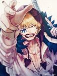 1boy blonde_hair cigarette clenched_teeth collared_shirt commentary_request donquixote_rocinante foreshortening gun heart heart_print holding holding_gun holding_weapon hood looking_at_viewer makeup male_focus one_piece pink_shirt shirt short_hair solo teeth toyoura_(23066494) upper_body weapon
