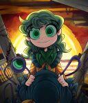 1girl clouds dress green_eyes green_hair hat highres komeiji_koishi long_hair looking_at_viewer nose peargor pillar plant railing smile solo sunlight third_eye touhou vines wide-eyed