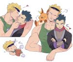 2boys blonde_hair blue_eyes blush closed_eyes closed_mouth commentary_request green_(grimy) green_shirt heart highres imminent_kiss jewelry koga_(pokemon) log long_sleeves looking_down male_focus multiple_boys necklace notice_lines one_eye_closed pokemon pokemon_(creature) pokemon_(game) pokemon_hgss raichu red_scarf scarf shirt short_hair shuriken sleeveless sleeveless_shirt solid_oval_eyes spiky_hair sunglasses surge_(pokemon) weapon