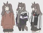 1girl 461_aki alternate_costume angelina_(arknights) animal_ears arknights bangs brown_eyes brown_hair closed_mouth fox_ears fox_girl fox_tail hand_on_hip hands_in_pockets hood hood_down hoodie jacket miniskirt open_clothes open_jacket pantyhose skirt solo tail twintails
