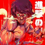 1boy black_hair blood clenched_teeth english_commentary floating_hair freakyfir green_eyes looking_at_viewer open_hand red_background rogue_titan shingeki_no_kyojin signature smoke solo teeth
