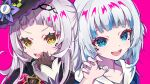 2girls :d absurdres bangs black_gloves black_hairband black_headwear blue_eyes blue_hair blue_nails blush brown_eyes commentary_request eyebrows_visible_through_hair gawr_gura gloves hairband hand_up hat highres hololive hololive_english long_hair long_sleeves looking_at_viewer multicolored_hair multiple_girls murasaki_shion nail_polish open_mouth paw_pose pension_z purple_background sharp_teeth silver_hair simple_background smile streaked_hair teeth tilted_headwear upper_body upper_teeth v-shaped_eyebrows virtual_youtuber witch_hat